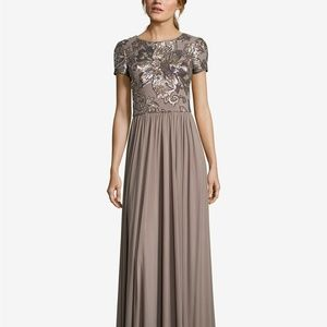 Betsy & Adam Sequined Chiffon Gown Taupe Size 10